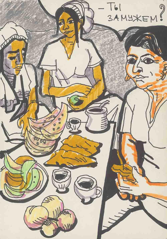 09 Lomasko Frauen Kaffee